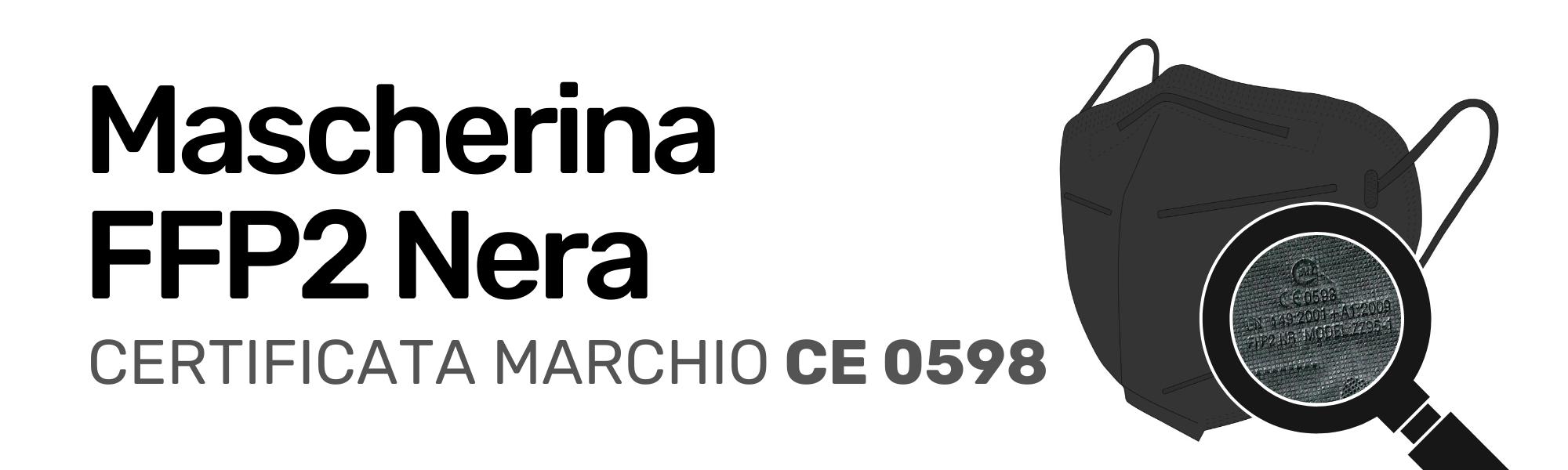 Mascherina FFP2 Nera Certificata CE 0598